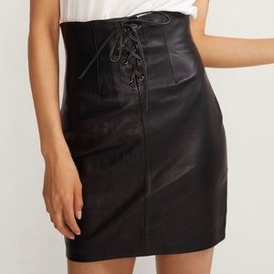 Lace Front Leather Skirt Cynthia Rowley